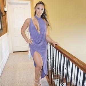 5528c18c4d ... Lavender Asymmetrical Choker Dress ...